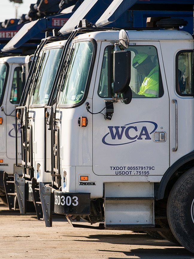 WCA trucks parked in a row